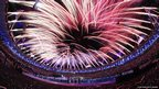 Fireworks light up the sky during the Opening Ceremony of the London 2012 Paralympics at the Olympic Stadium 
