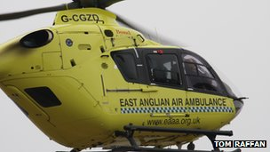 Anglia Two departs with the injured patient