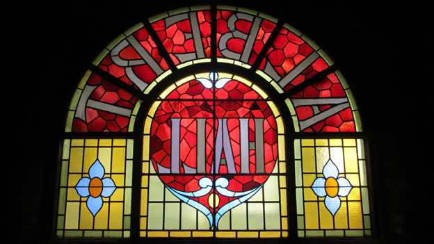 Stained glass in Manchester Albert Hall