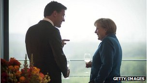 Dutch PM Mark Rutte with German Chancellor Angela Merkel