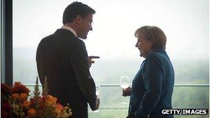 Dutch PM Mark Rutte with German Chancellor Angela Merkel