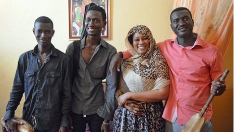 Musical family: Sons Moustapha Kouyate and Madou Kouyate, mum Amy Sacko and father Bassekou Kouyate.