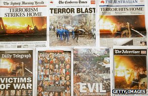 Australian newspaper headlines report Bali bombings