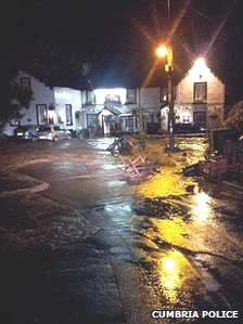 Roads in Beckermet were flooded