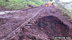 Scene of Sellafield train derailment