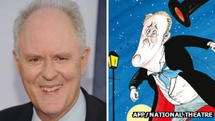 John Lithgow in real life and how he appears on Gerald Scarfe&#039;s poster for The Magistrate