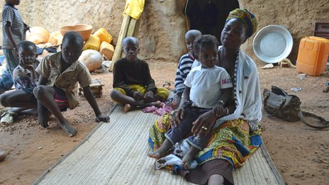 Refugee family from northern town of Gao, Bandiagara