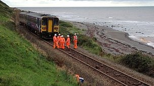 Derailed Sellafield train