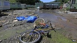 Flooding damage at a caravan site in Ceredigion