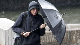 A man holding an umbrella
