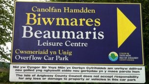 Beaumaris leisure centre sign