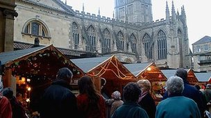 Bath's existing Christmas market in Abbey Churchyard