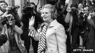 Margaret Thatcher after she was confirmed as leader of the Conservative Party