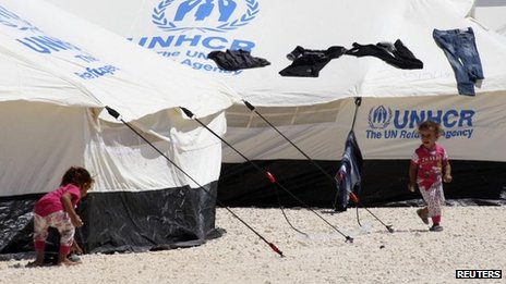"Turkey's Foreign Minister Ahmet Davutoglu called on the United Nations to act ""without delay"" to set up refugee camps inside Syria"