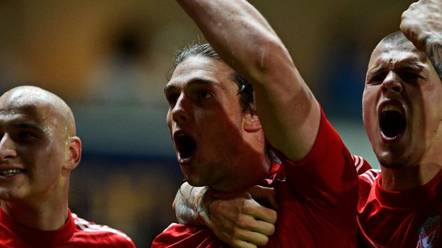 Andy Carroll celebrates scoring against Blackburn
