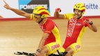 Javier Munoz and Miguel Angel Clemente Solano of Spain celebrate their bronze medal