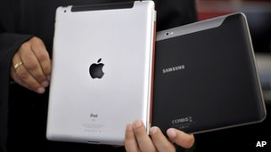 iPad and Samsung Galaxy Tab tablet computers