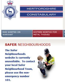 Hertfordshire Police website showing the removal of the Safer Neighbourhood Teams' webpage