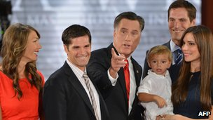 Mitt Romney and family members on the final day of the Republican National Convention