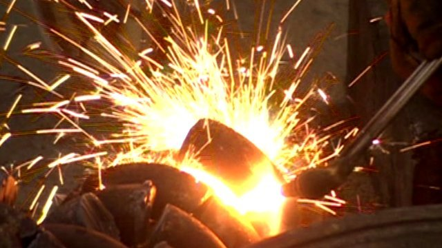 Sparks flying at metal-works factory