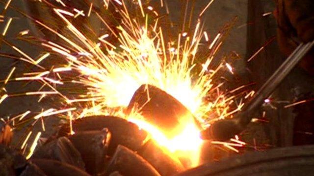 Sparks flying at metal-works factory