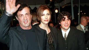 Sage Stallone (r) pictured with his father Sylvester Stallone and his father's then girlfriend and current wife, Jennifer Flavin, in 1996