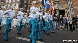 Loyalist band passing St Patrick's Catholic Church