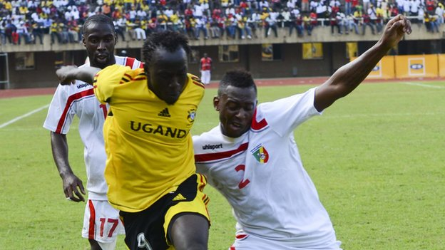 Brian Umony (centre) is out of Uganda&#039;s match against Zambia