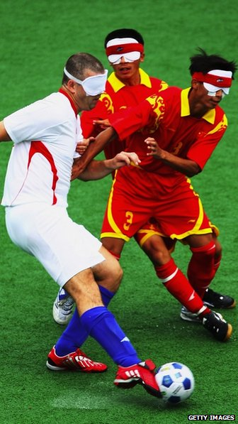 Great Britain v China in a five-a-side football match at the Beijing Paralympics