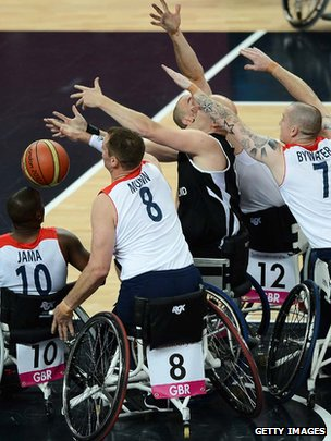 GB wheelchair basketball team in action
