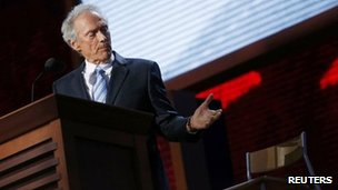 Clint Eastwood addressing an empty chair at the Republican National Convention