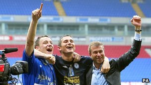 Abramovich with John Terry and Frank Lampard