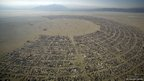 An aerial view shows the Burning Man 2012 Fertility 2.0 arts and music festival in the Black Rock Desert of Nevada