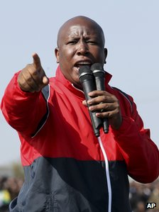 Julius Malema speaking to the Lonmin miners