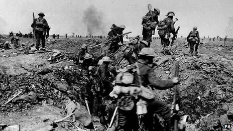 British troops negotiating a trench as they go forward in support of an attack on the village of Morval during the Battle of the Somme 1916
