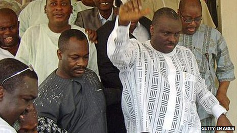 James Ibori (in white, second on the right)