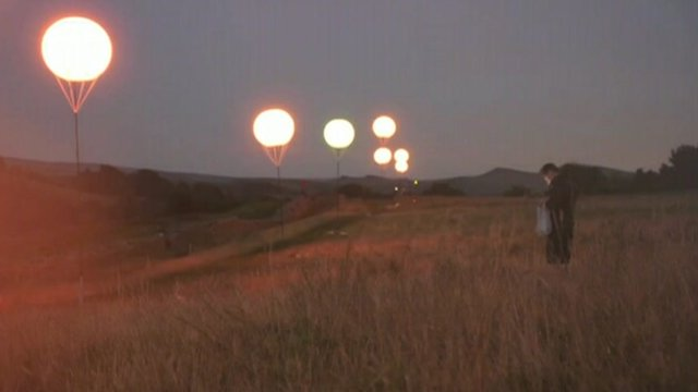 Balloons light up along Hadrian's Wall