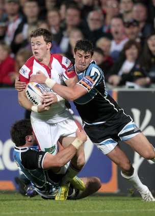 Ulster's Craig Gilroy is tackled by Glasgow's Alex Dunbar and Peter Murchie