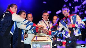 Olympians Karina Bryant, Max Whitlock, Sophie Hasking, Steven Burke, Beth Tweddle and Luke Campbell switch on the Blackpool Illuminations