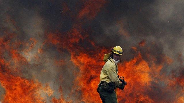 Firefighter in Ojen, southern Spain