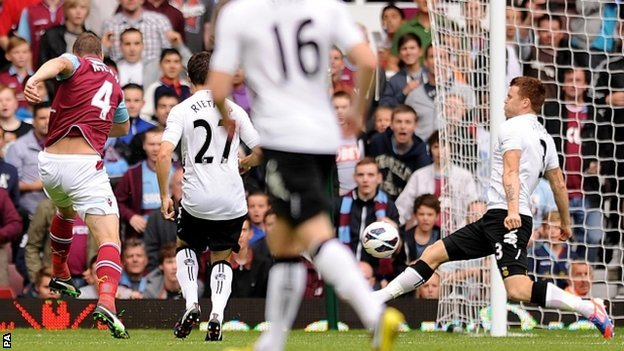 Kevin Nolan (left) smashes home West Ham's opener