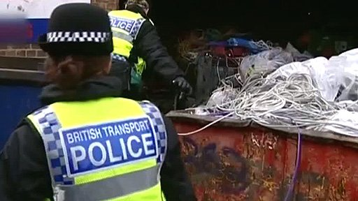 Police inspecting scrap metal site