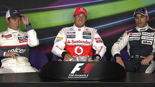 Kamui Kobayashi, Jenson Button and Pastor Maldonado