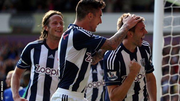 Gareth McAuley celebrates his West Bromwich Albion goal