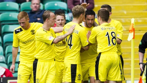 Hibernian celebrate Tim Clancy&#039;s goal at Celtic Park
