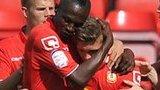 Crewe celebrate Max Clayton's goal