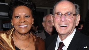 Hal David pose with singer Dionne Warwick