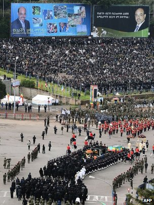 Meles Zenawi&#039;s coffin arrives in Meskel Square - 2 September