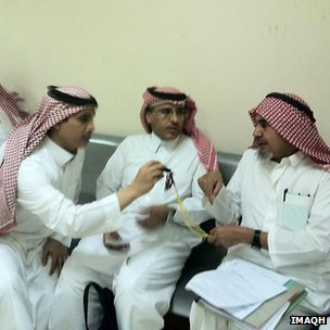 Rights activists Mohammad al-Qahtani (centre) and Abdullah al-Hamid (right)