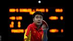Lin Ma of China serves during the men's singles class 9 final against Stanislaw Fraczyk of Austria